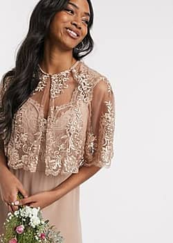 TFNC lace detail cape in mink-Pink