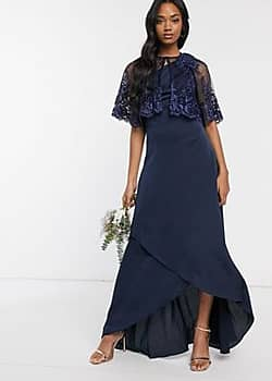 TFNC lace detail cape in navy-Pink