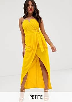 TFNC bandeau wrap midaxi dress with pleated detail in yellow