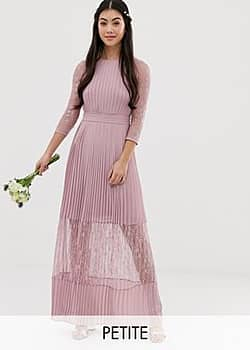 TFNC bridesmaid exclusive pleated maxi dress with lace insert in pink