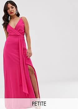 TFNC cami wrap maxi dress with fishtail in fuchsia-Pink