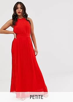 TFNC pleated maxi dress in red