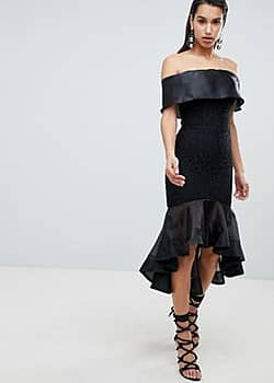 8th Sign The Bardot Dress With Contrast Fishtail Detail-Black