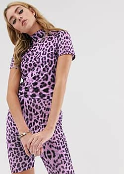 The Ragged Priest high neck crop top in purple leopard print co-ord