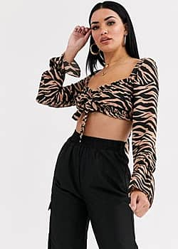 Tiger Mist ruched crop top with tie front in zebra print-Multi