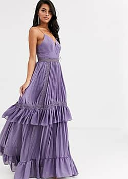 True Decadence cami strap tiered maxi dress with tie front in mauve-Purple