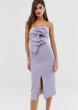 True Decadence premium double bow front midi dress with keyhole detail in soft lavender-Purple