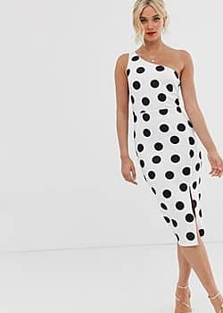 True Violet polka dot one shoulder midi dress-Multi