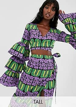 Taller Than Your Average TTYA ruffle sleeve plunge front crop top in multi geo print