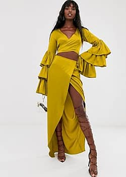 Taller Than Your Average TTYA wrapover midi skirt in in rich yellow
