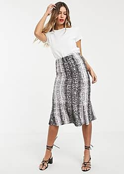Vero Moda snake print stretch midi skirt-Multi