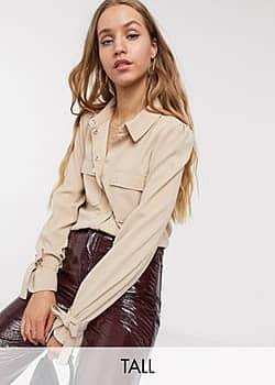 Vero Moda utility shirt with tie sleeves in sand-Cream