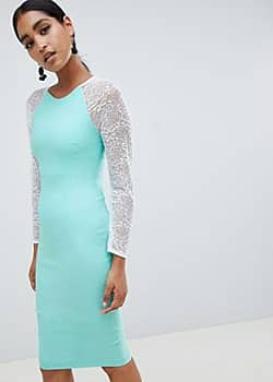 Vesper bodycon dress with contrast lace sleeves-Green