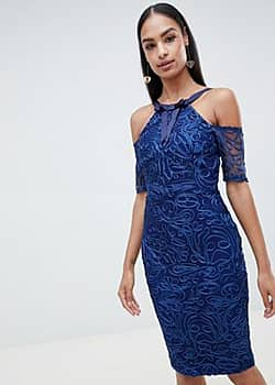 Vesper lace pencil dress with short sleeve-Blue