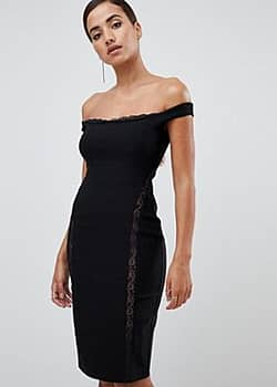Vesper lace underlay bardot bodycon midi dress in black