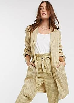 Vila belted longline blazer in check-Multi