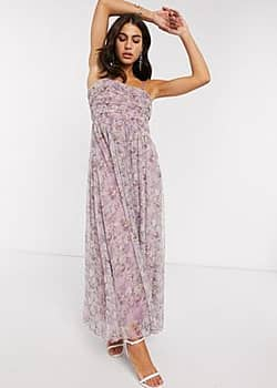 Vila cami maxi dress with ruched detail in soft floral-Green