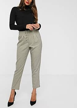 Vila check trousers with button detail-Multi