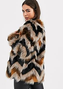Vila faux fur jacket with chevon detail in multi-Brown