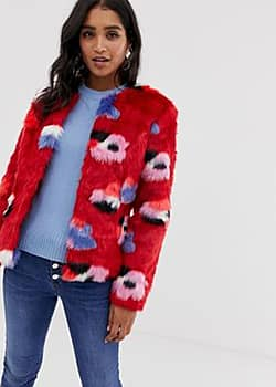 Vila floral faux fur jacket-Multi