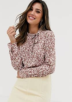 Vila floral pussybow blouse-Red