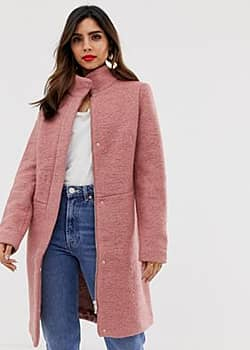 Vila funnel neck coat-Pink