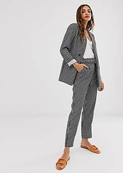 Vila houndstooth tailored trousers with belt-Black