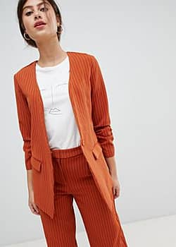 Vila pin stripe ruche sleeve tailored jacket-Orange