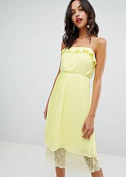 Vila pleated ruffle midi dress with lace hem in yellow