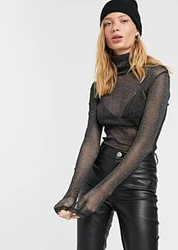 Weekday Carissa roll neck sheer glitter top in black