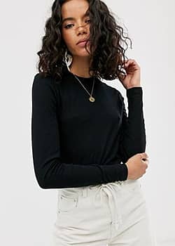 Weekday fine ribbed long sleeves t-shirt in black