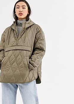 Weekday Mira quilted anorak in mole light khaki-Grey