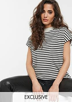 Weekday Prime organic cotton t-shirt in black and beige stripes-Multi