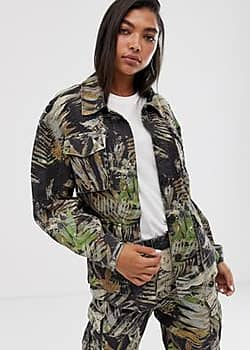 Weekday tropical camo print twill jacket in multi