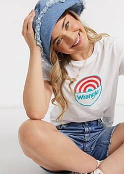 Wrangler circle logo t-shirt in white