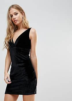 WYLDR Distractions Velvet Mini Dress With Front Pleating Detail-Black