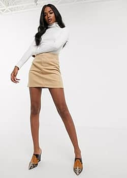 Y.A.S brushed mini skirt in cream-Brown