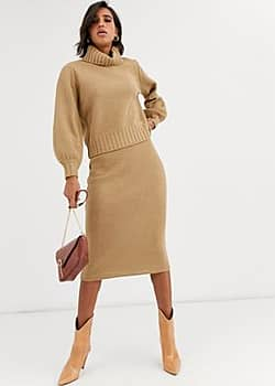 Y.A.S co-ord waffle knit midi skirt in camel-Yellow