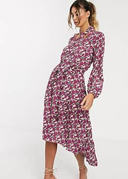 Y.A.S floral tie waist maxi dress with pussy bow-Multi