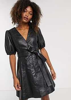 Y.A.S leather v neck mini dress with volume sleeve-Black