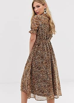 Y.A.S leopard print puff sleeve midi dress-Beige