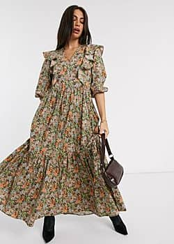 Y.A.S maxi dress with ruffle detail in ditsy floral-Multi