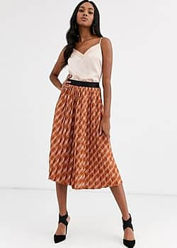 Y.A.S midi skirt in pleated check-Multi
