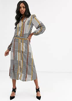 Y.A.S mix houndstooth midi skirt-Black