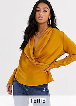 Y.A.S Nappy long sleeve drape blouse-Brown
