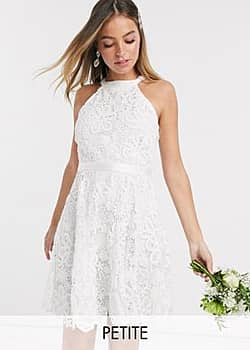 Y.A.S wedding mini dress in white lace