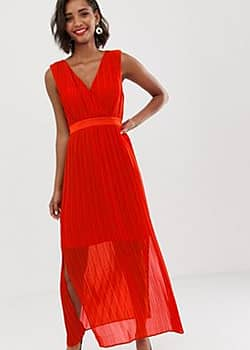 Y.A.S pleated wrap maxi dress-Red