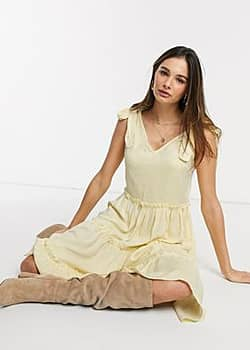 Y.A.S Rachel tie strap tiered midi dress-Yellow
