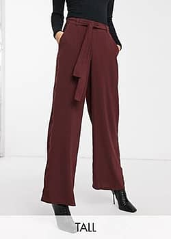 Y.A.S wide leg trousers in burgundy-Brown