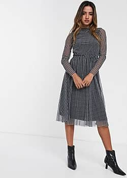 Y.A.S Tuta long sleeve mesh midi skater dress-Black